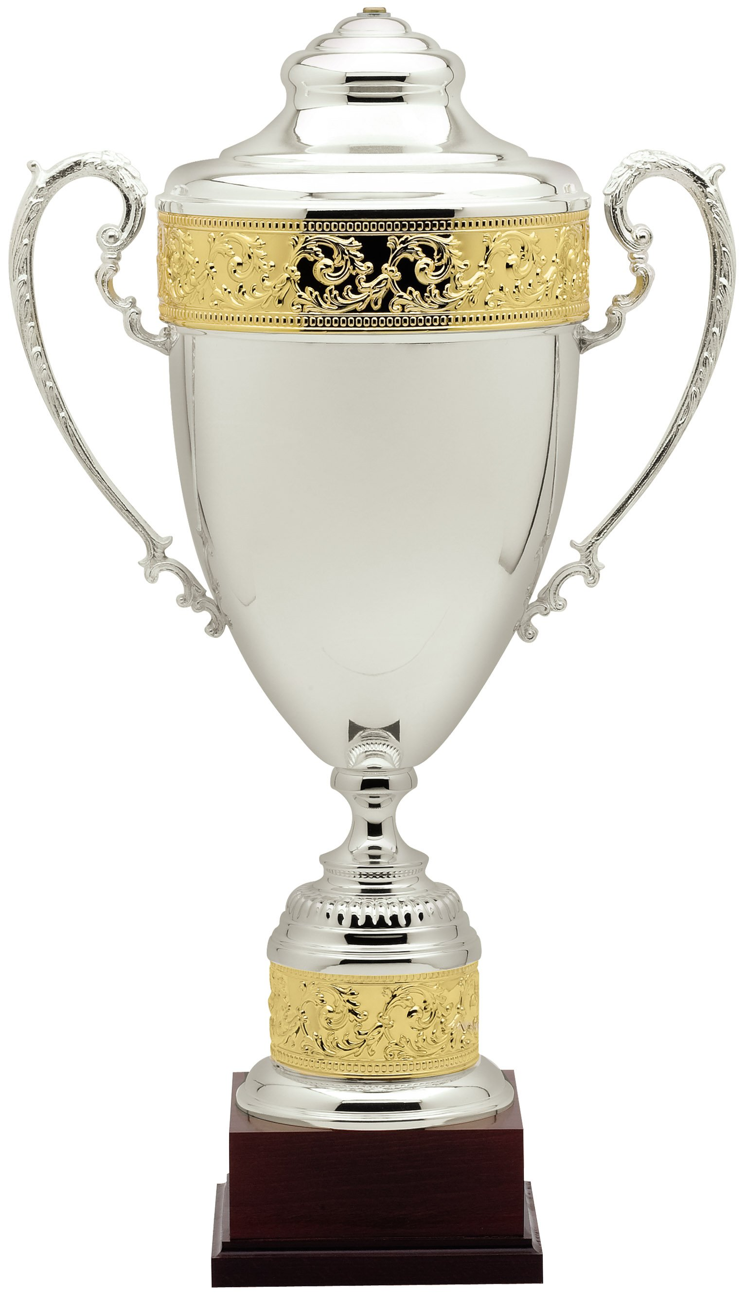 Silver Amp Gold Plated Italian Metal Cup On Mahogany Wood