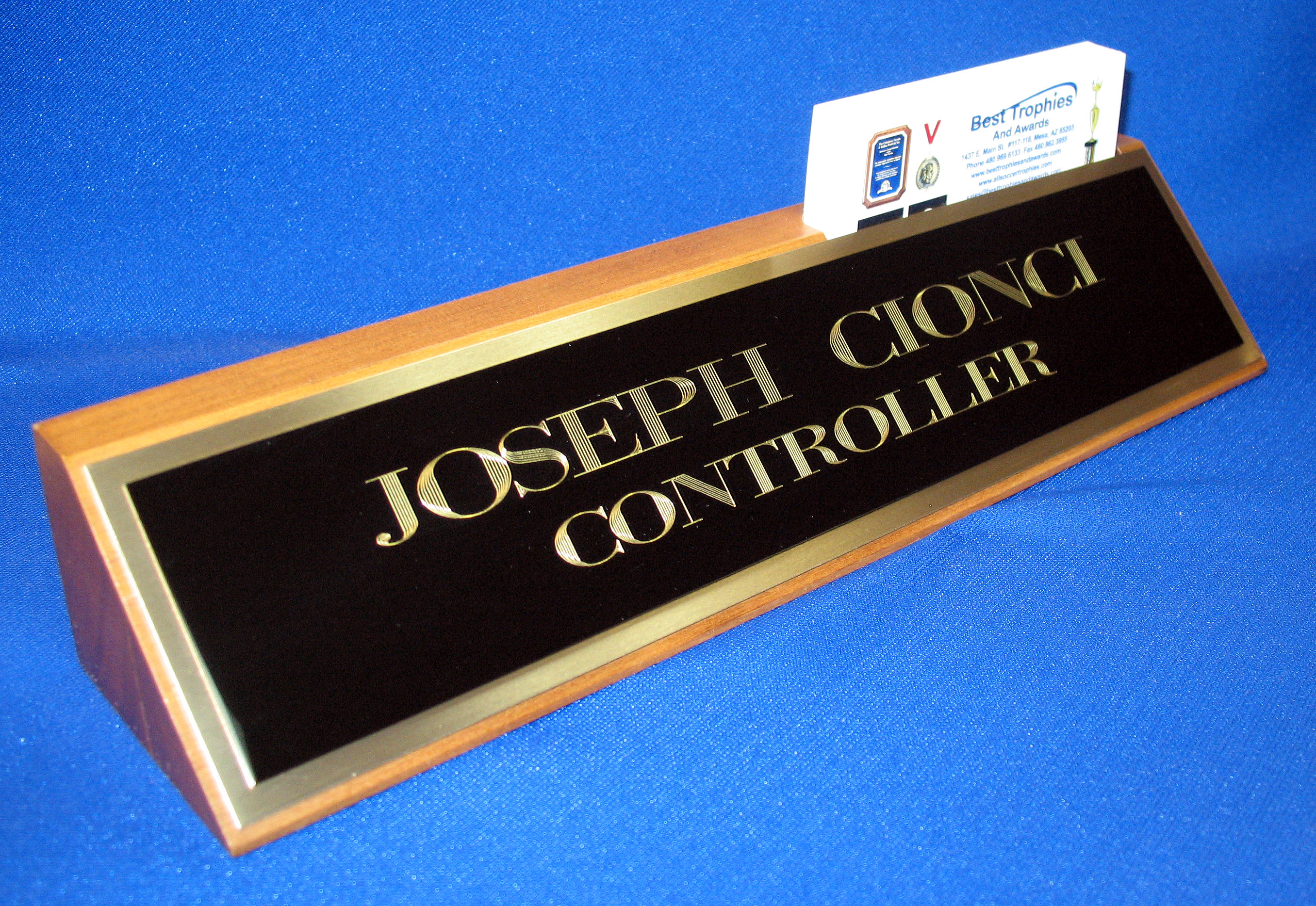 Walnut Desk Name Plate With Business Card Holder And Black Brass